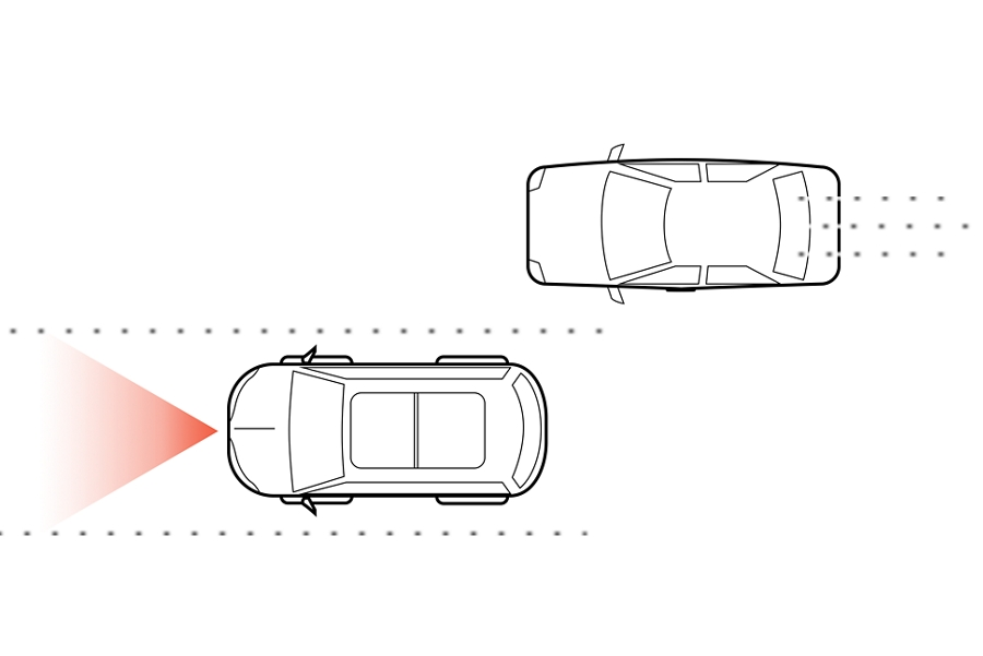 An illustration shows two vehicles being driven along a road while a simulated camera field of view is emitted from the front of one of the vehicles