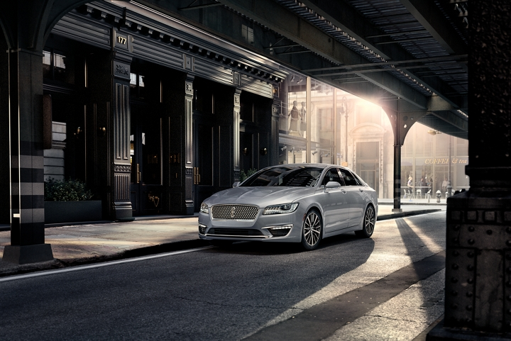 A 2020 Lincoln M K Z is shown covered in city shadows highlighted by the first light of the day
