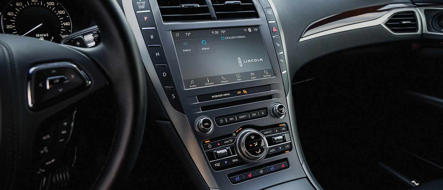 The Lincoln plus alexa screen is displayed on the touch screen in the center console of a 2020 Lincoln M K Z