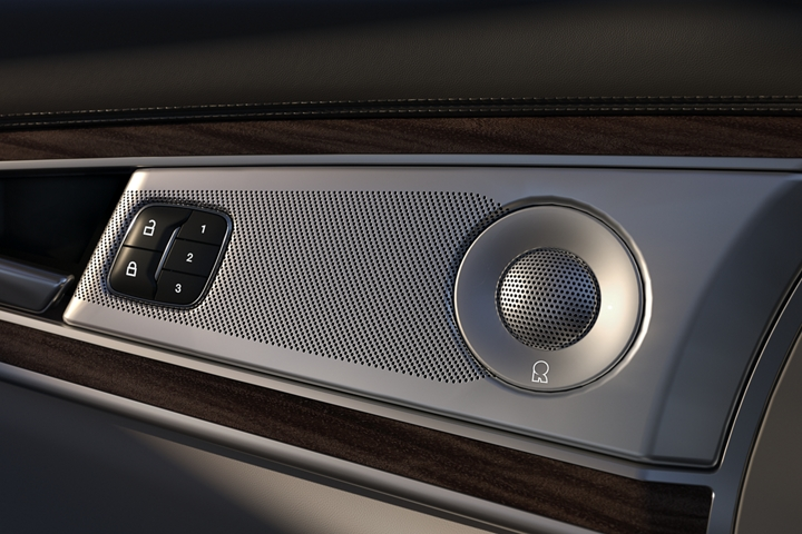 A close up view of one of the sound systems speakers embedded in the drivers door