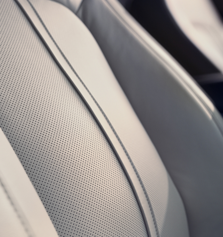 A close up shot showing the rich details of the available leather trimmed front seats in a 2020 Lincoln Nautilus