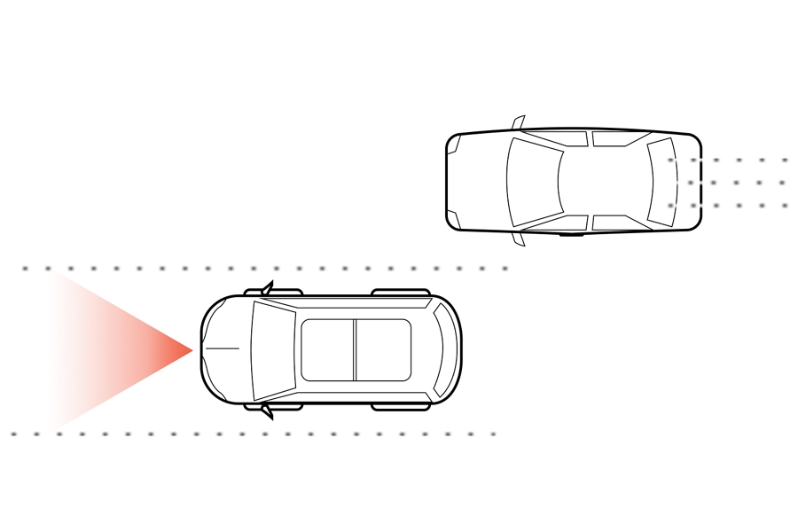 An illustration shows simulated radar being emitted from a vehicle to demonstrate the function of the lane keeping system