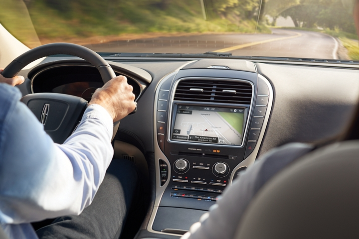 Navigation directions are shown on the touchscreen located in the center console