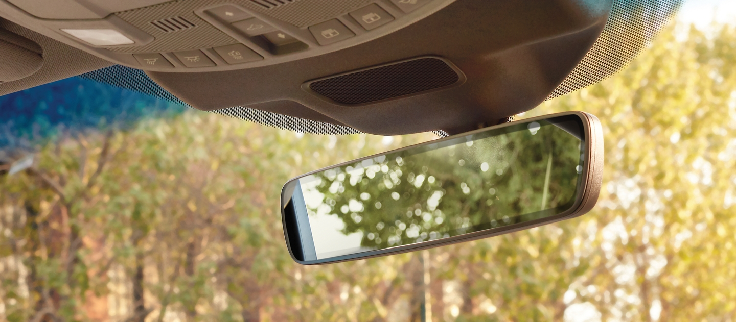The frameless rearview mirror is shown