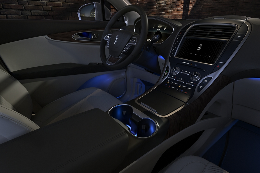 The inside of a 2020 Lincoln Nautilus glows with cool blue ambient light