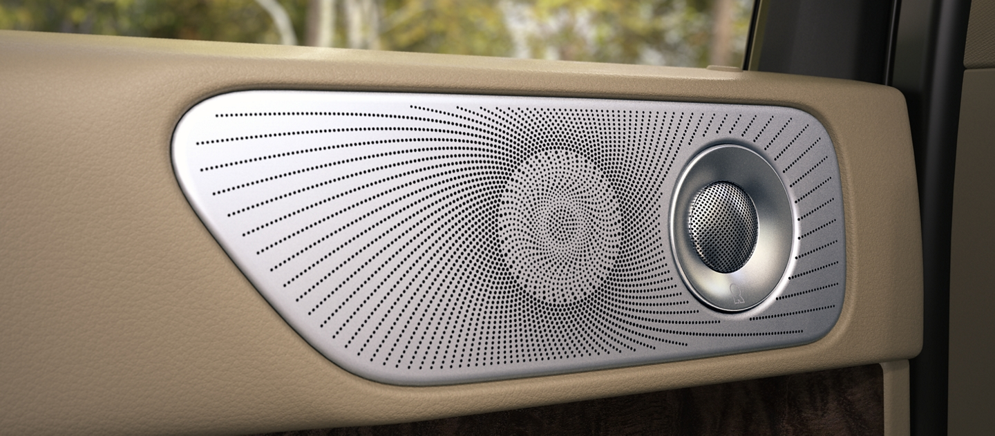 A silver second row door speaker and tweeter feature a radial sunburst design creating lines that imitate the expansive power of the sound system