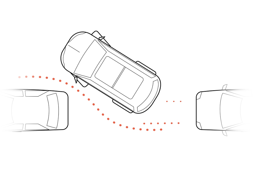 A graphic represents a vehicle being parallel parked between two other vehicles
