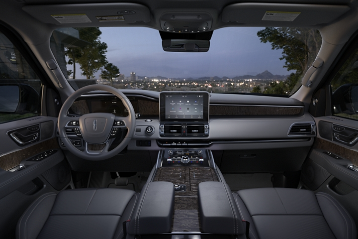 The front cabin of the 2020 Lincoln Navigator is shown in the slate interior color