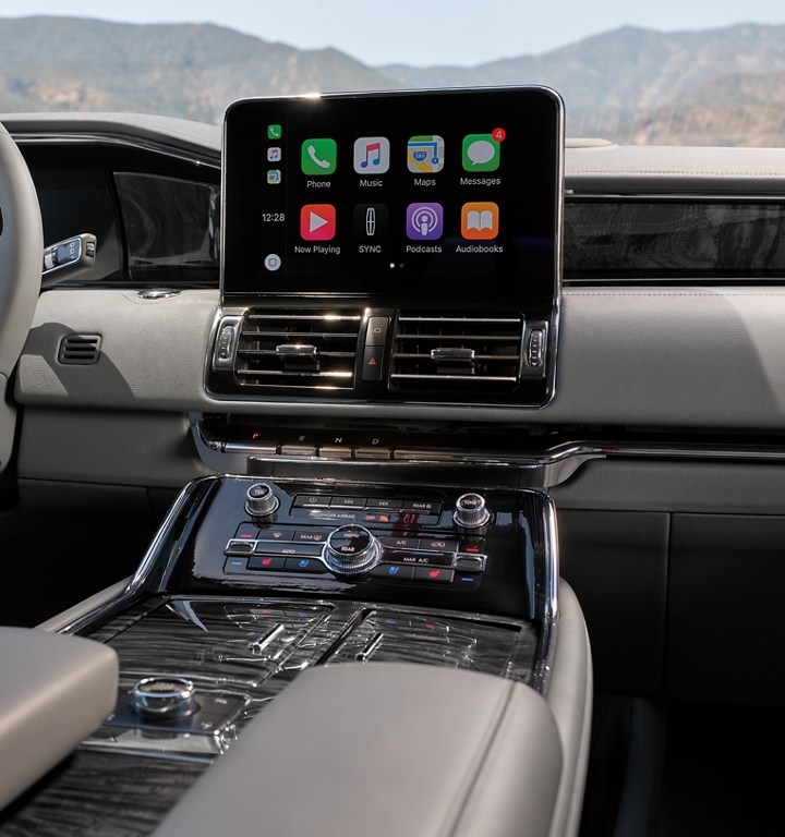 The digital center screen in a 2020 Lincoln Navigator shows a variety of popular applications that put technology and information at your fingertips