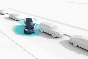 A graphic demonstrating enhanced active park assist