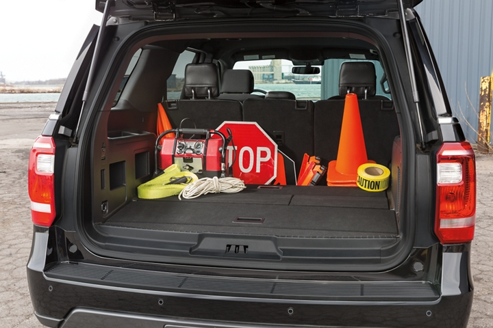 The rear cargo area of the ford expedition special service vehicle