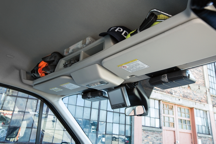 Overhead storage compartments in the ford transit prisoner transport vehicle