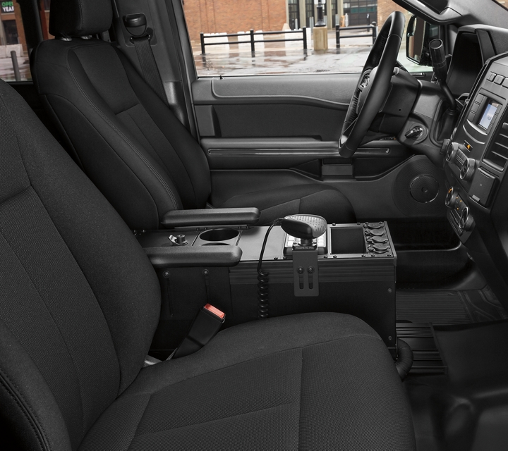 The interior of the ford expedition special service vehicle