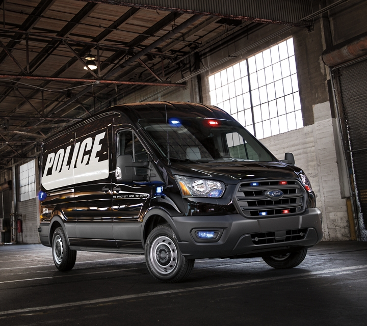 The ford transit prisoner transport vehicle parked in a garage