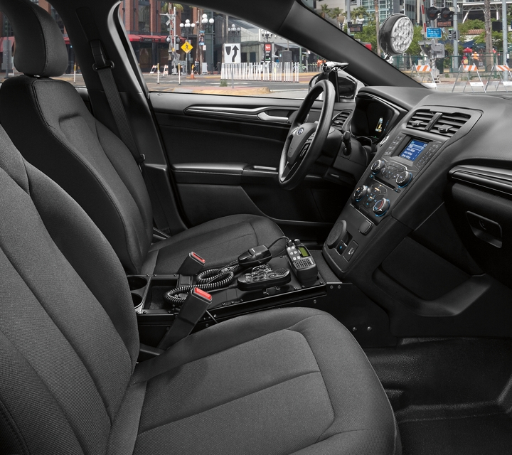 The interior of the ford special service plug in hybrid sedan