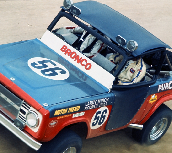 The number 56 racing Ford Bronco being driven by Larry Minor and Rodney Hall in the 1969 Mexican 1000 race