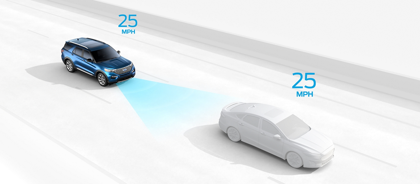 Illustration showing Adaptive Cruise Control with speed set at twenty five miles per hour
