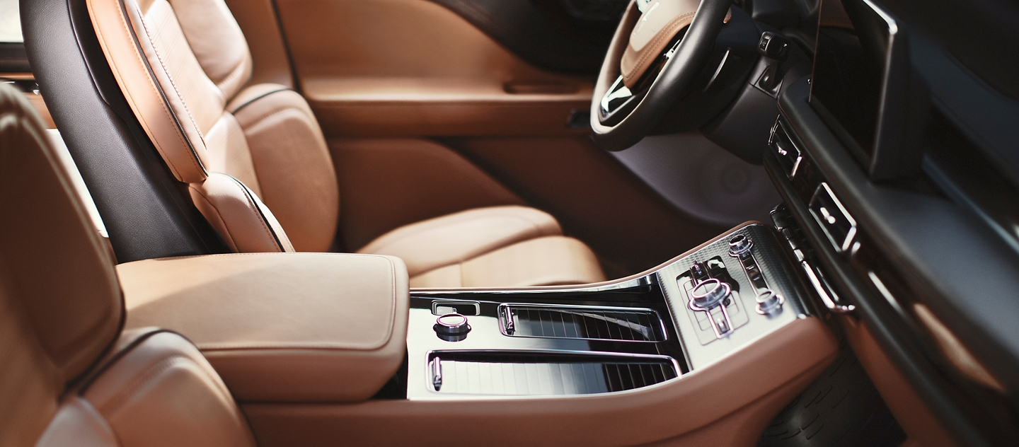 This is an interior image of a Lincoln Black Label Aviator in the flight interior theme