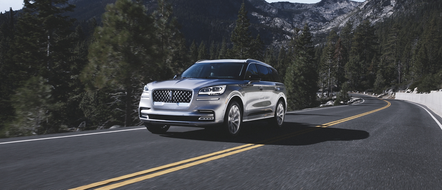 2020 Lincoln Aviator driving on a mountain road