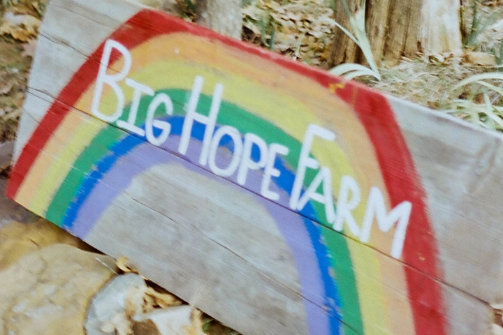 "Cas' farm's sign for ""Big Hope Farm""."