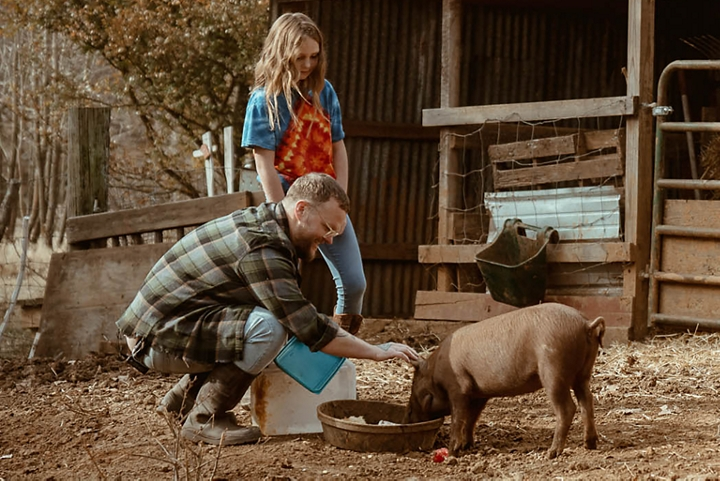 Cas feeding his pigs in his barnyard.