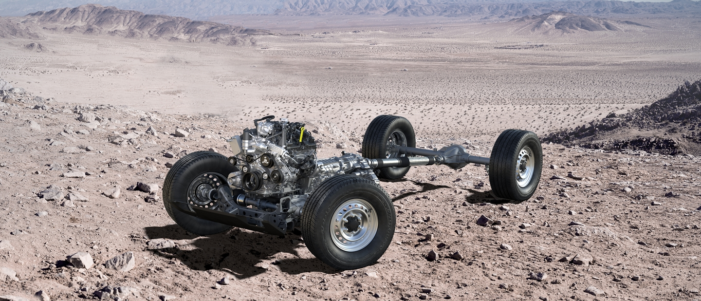 2021 Ford Bronco powertrain stripped in the middle of a rocky desert