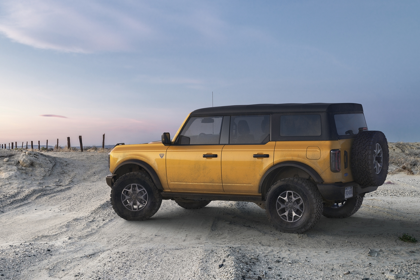 2021 Ford Bronco Badlands Series shown on a sandy beachfront