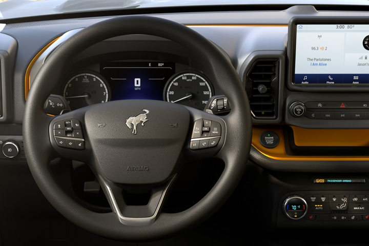 Close up of the heated and leather wrapped steering wheel in the Bronco Sport Badlands model interior