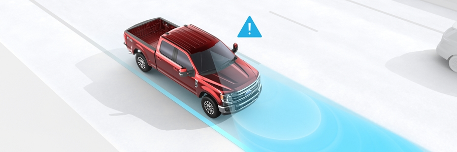 Animation image of Audible Lane Departure Warning feature on the 2020 Ford Super Duty Chassis Cab