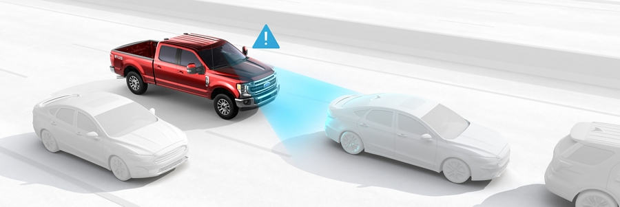 Animation image of Pre Collision Assist feature on the 2020 Ford Super Duty Chassis Cab
