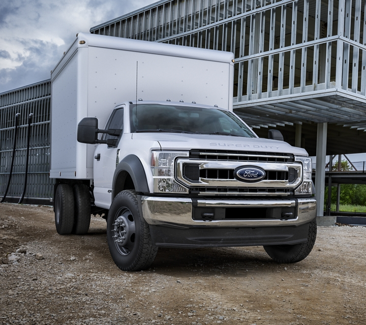 2020 Ford Super Duty Chassis Cab X L T shown in Oxford White with Box Truck upfit at worksite