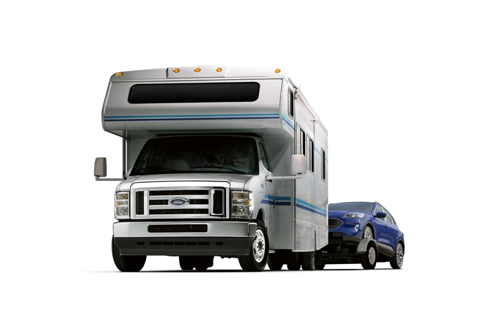 A 2021 Ford E Series Dual rear wheel cutaway with Class C motorhome and High Series Exterior Upgrade Package