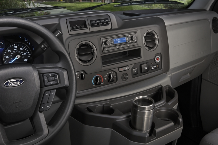Close up of the 2021 Ford E Series console and steering wheel