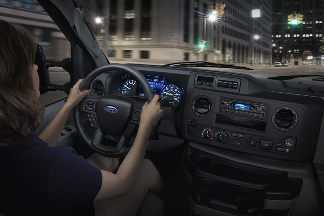 2021 Ford E Series interior with a multifunction engine cover console