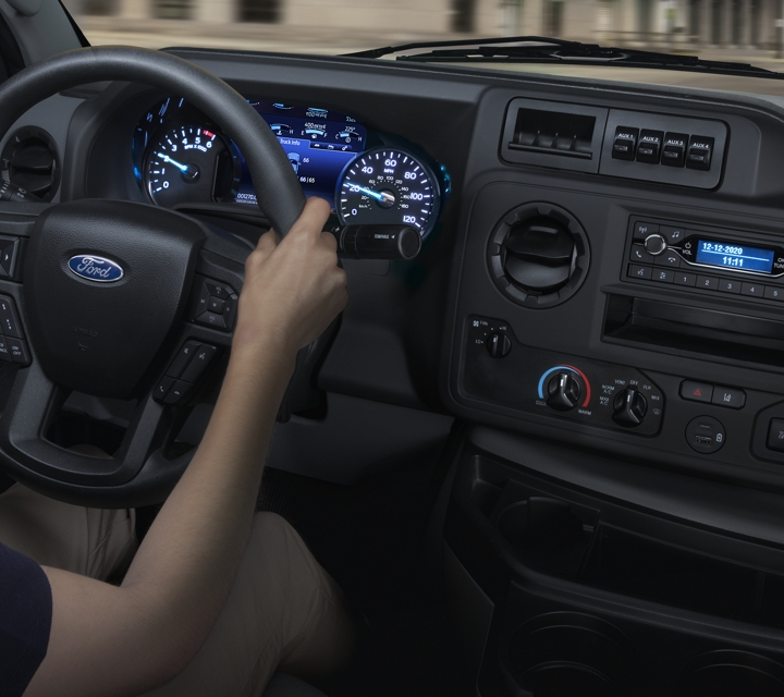 Comfortable seating and instrumentation on the 2021 Ford E Series cutaway