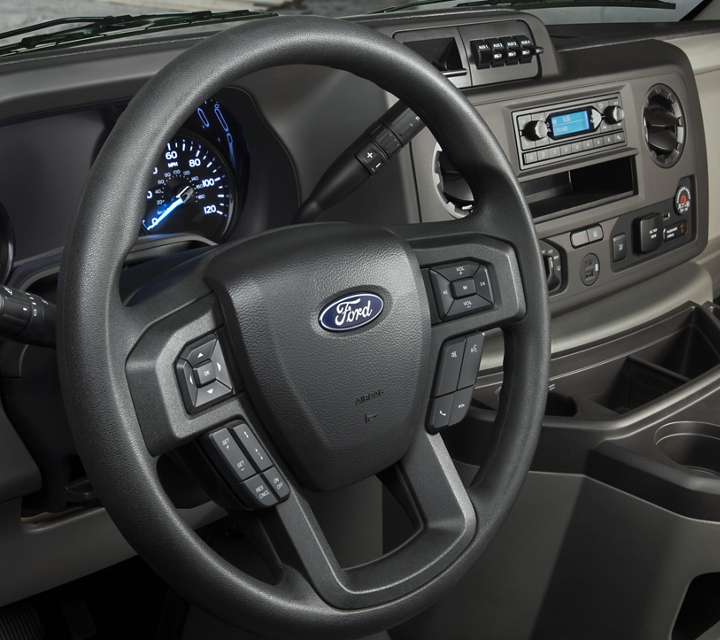 A 2021 Ford E Series cutaway with Ergonomic instrument panel