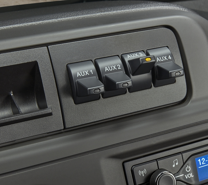 Available integrated trailer brake controller shown on a 2021 Ford E Series