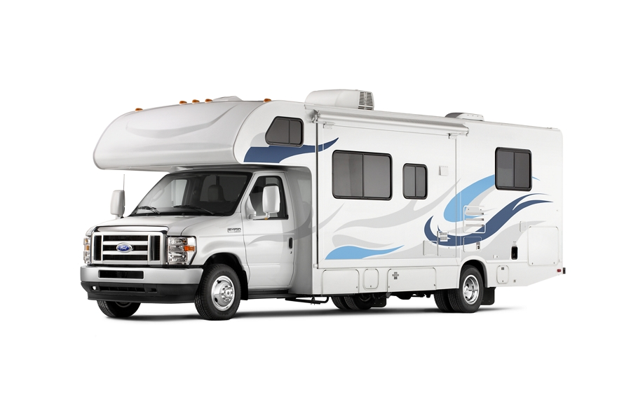 A 2021 Ford E Series Cutaway with Class C Motorhome