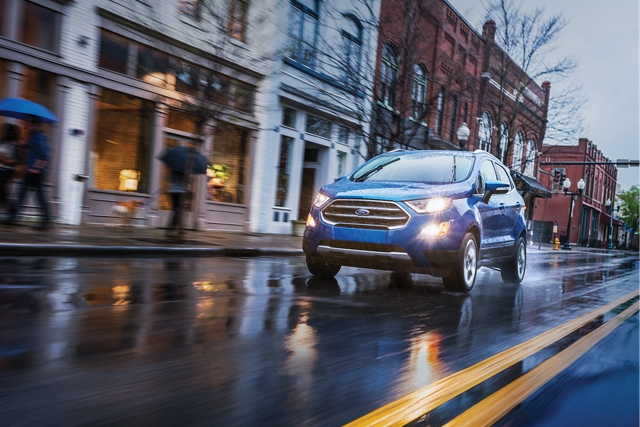 2019 Ford EcoSport Titanium in Lightning Blue on a city street