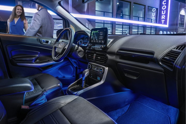 The 2019 EcoSport interior illuminated by available ambient lighting
