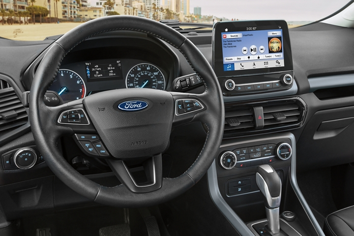 2019 EcoSport S E S interior with bold Ano Grey accents and an eight inch touchscreen