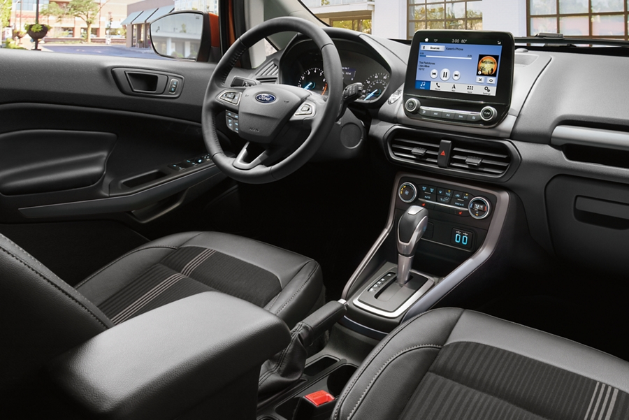2019 Ford EcoSport interior with Ebony black seating and bold Ano Grey accents featuring an available eight inch touchscreen