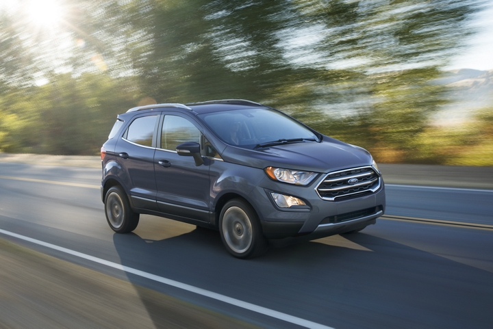 2019 EcoSport Titanium in Smoke on a scenic road