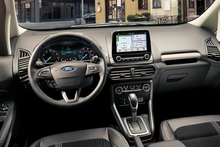 2019 Ford EcoSport interior featuring instrumentation leather wrapped gear shift knob and available eight inch touchscreen
