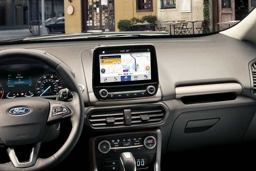 A look at the front panel of the 2019 EcoSport with Waze navigational maps shown on the available eight inch touchscreen