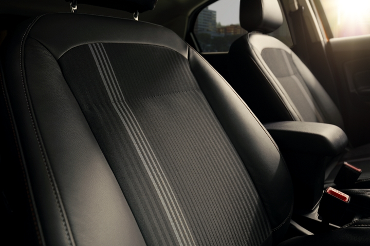 The 2019 EcoSport S E S interior with Active X trimmed seating material and unique metal gray fabric inserts