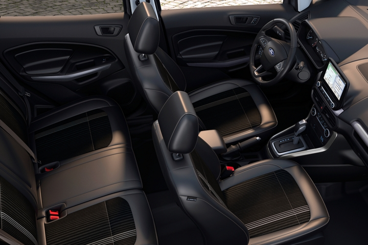 2019 Ecosport S E S interior with ebony black seating with ActiveX trimmed seating material and bold Ano Grey accents