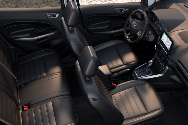 Overhead view of the 2019 EcoSports Ebony interior with four leather stitched seats and an equipped centre stack