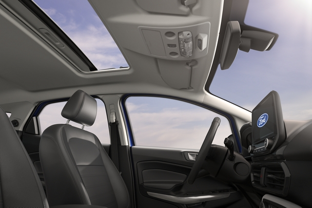 2019 Ford EcoSport Medium Light Stone interior with open moonroof