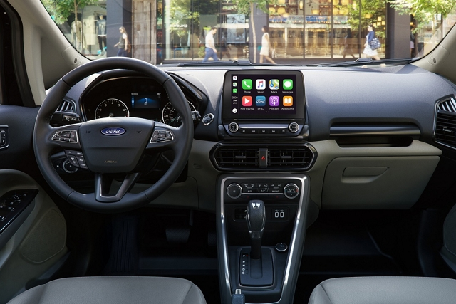 2020 Ford EcoSport interior with available eight inch touchscreen